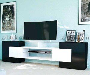 میز تلویزیون با ترکیب رنگ زیبای سفید و مشکی