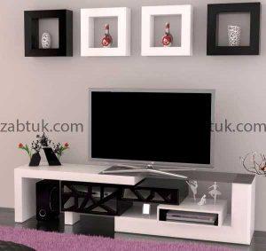یک مدل میز تلویزیون سفید مناسب با سبک مینیمال