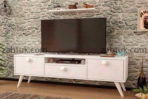 میز تلویزیون سفید پایه دار