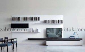 مدل میز تلویزیون سفید شلف دار