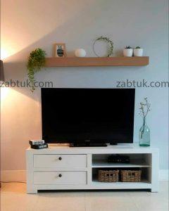 میز تلویزیون سفید کشودار