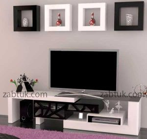 میز تلویزیون با ترکیب رنگ سفید و مشکی